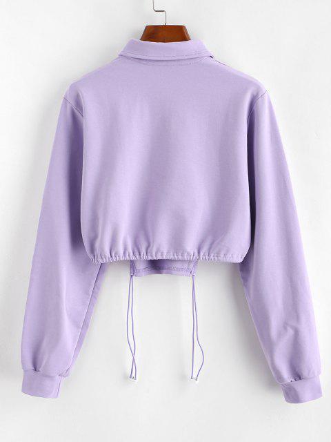 Half Button Toggle Drawstring Hem Cropped Sweatshirt - وردة بنفسجية S Mobile