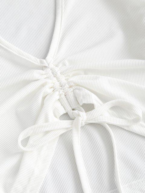 fashion Cinched Plaid Ribbed Slit Two Piece Dress - LIGHT PURPLE S Mobile