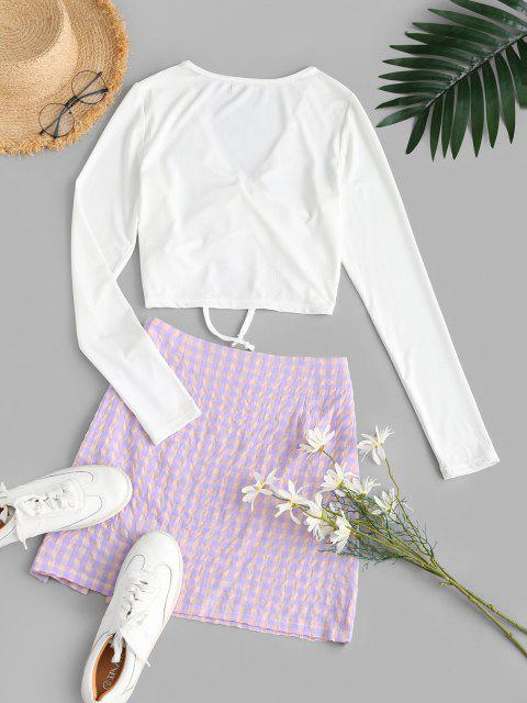 outfits Cinched Plaid Ribbed Slit Two Piece Dress - LIGHT PURPLE M Mobile