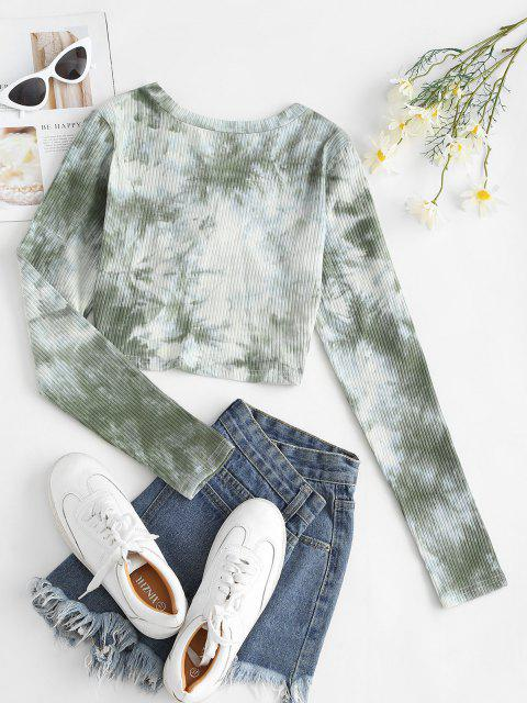 hot Twisted Front Ribbed Tie Dye Tee - LIGHT GREEN XL Mobile