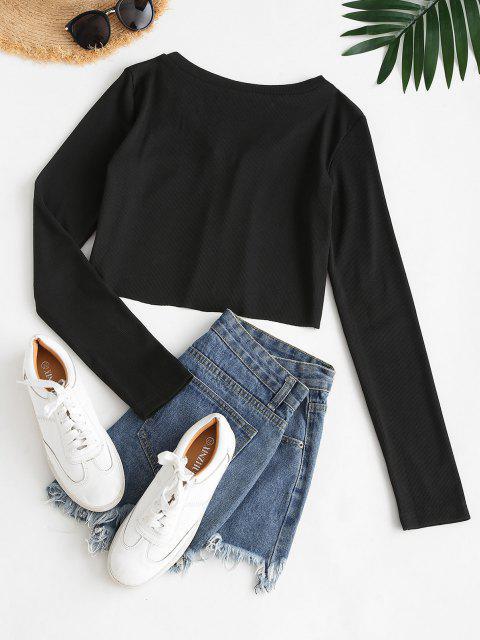 T-shirt Côtelé Courtau Crochet - Noir S Mobile