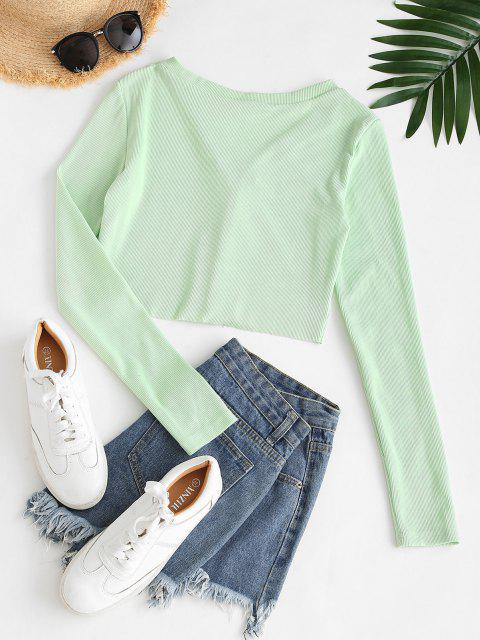 womens Cropped Eye And Hook Ribbed Tee - LIGHT GREEN L Mobile