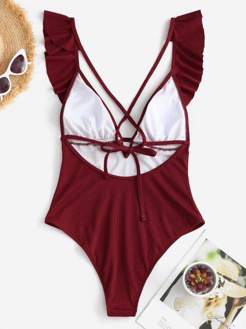 outfit ZAFUL Ribbed Ruffle Criss Cross Backless One-piece Swimsuit - DEEP RED M Mobile