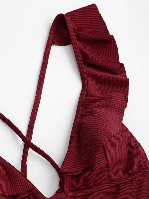 women's ZAFUL Ribbed Ruffle Criss Cross Backless One-piece Swimsuit - DEEP RED L Mobile