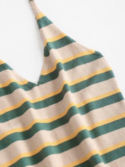 ZAFUL Vestido Tejido Rayado y Espalda Descubierta - Verde Talla única Mobile
