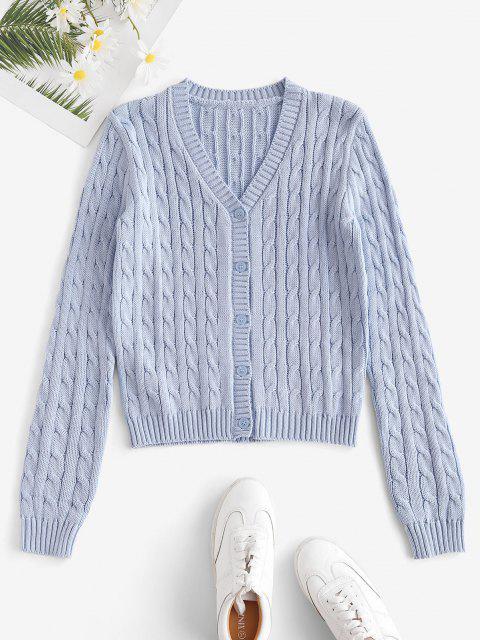 fancy Plain Cable Knit Button Up Cardigan - LIGHT BLUE S Mobile
