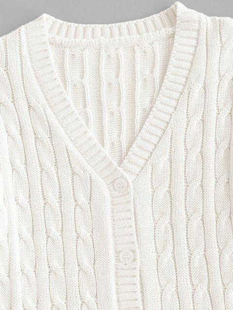 shops Plain Cable Knit Button Up Cardigan - CRYSTAL CREAM S Mobile