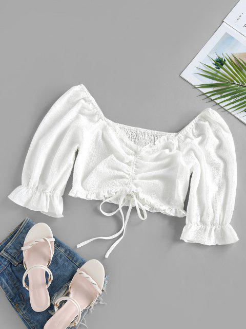 shops ZAFUL Crinkle Cinched Poet Sleeve Smocked Back Blouse - WHITE M Mobile