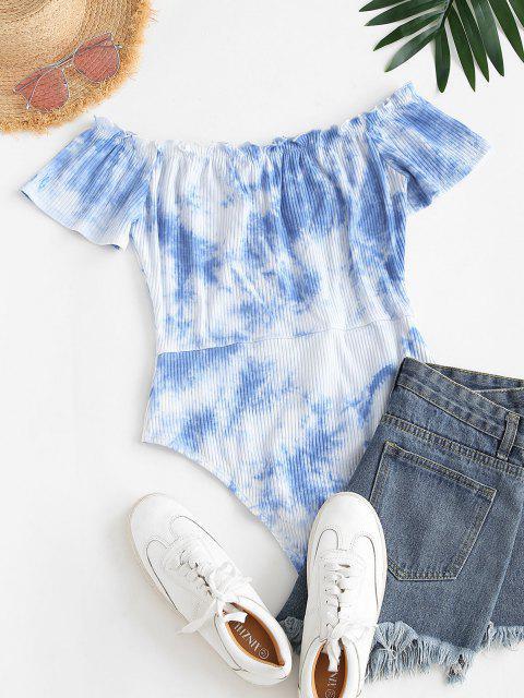 sale ZAFUL Tie Dye Ribbed Ruffle Mock Button Bodysuit - DAY SKY BLUE S Mobile
