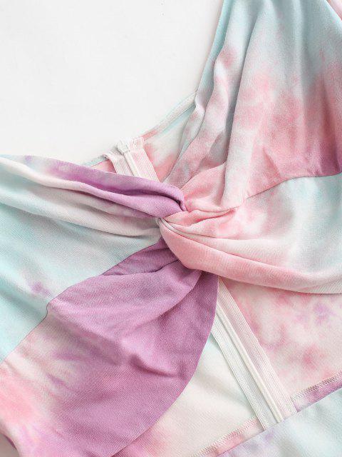 fancy ZAFUL Tie Dye Cutout Bodycon Dress - MULTI-A L Mobile