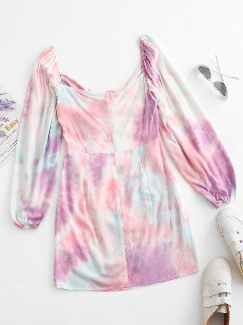 ladies ZAFUL Tie Dye Cutout Bodycon Dress - MULTI-A S Mobile