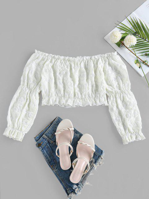 unique ZAFUL Crinkle Ruffle Plaid Off Shoulder Blouse - COOL WHITE L Mobile