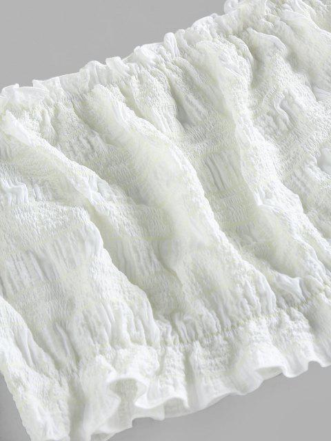 ZAFUL Blusa de Chlaeco Arrugada a Cuadros con Hombro Descubierto - Blanco Frío M Mobile