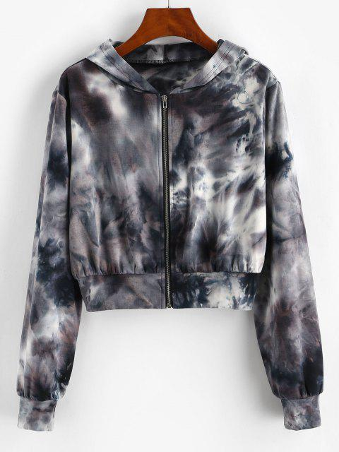 online ZAFUL Tie Dye Zip Up Crop Hoodie - BLACK S Mobile
