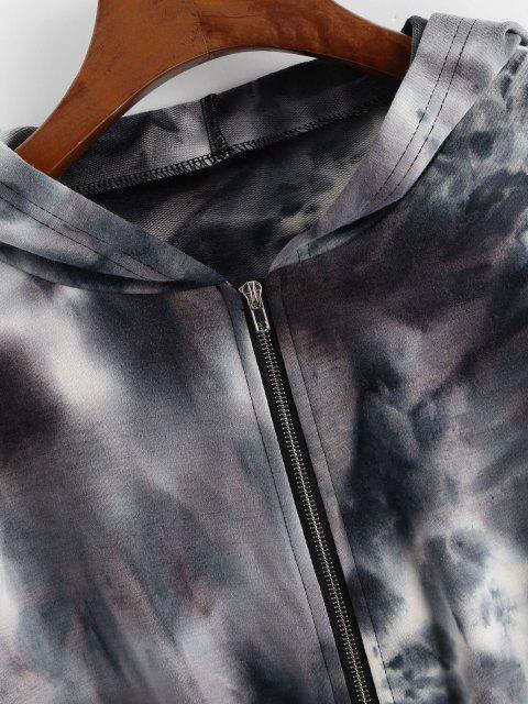 best ZAFUL Tie Dye Zip Up Crop Hoodie - BLACK L Mobile