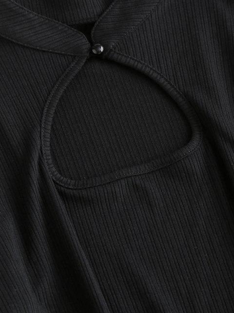 ZAFUL Mini-Robe Moulante Côtelée - Noir L Mobile