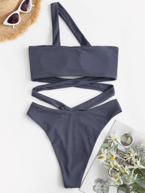 sale ZAFUL Ribbed One Shoulder Crisscross High Leg One-piece Swimsuit - JET GRAY S Mobile