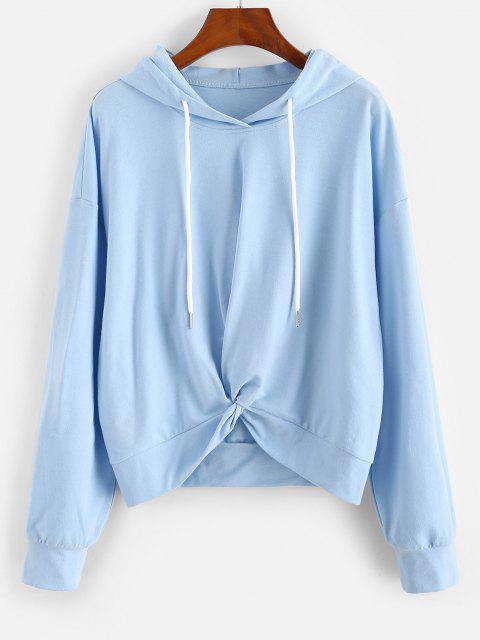 women ZAFUL Twist Hem Drop Shoulder Drawstring Hoodie - LIGHT SKY BLUE L Mobile
