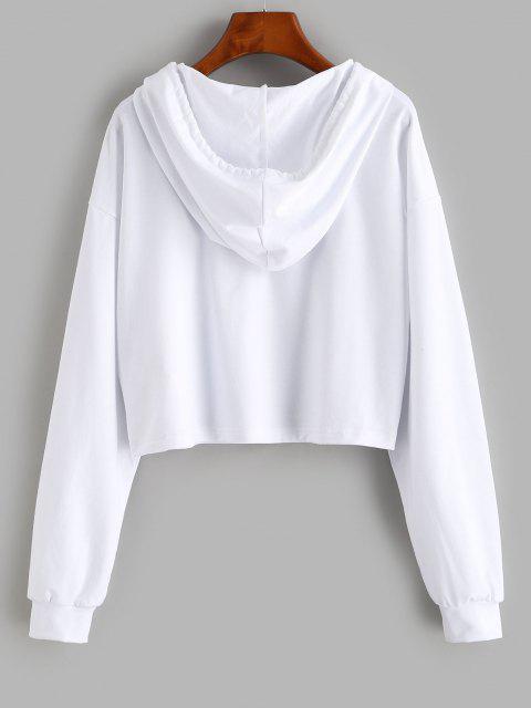 buy ZAFUL Sun Planet Print Drop Shoulder Crop Hoodie - WHITE XL Mobile