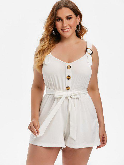 shops Plus Size Buttoned Sweetheart Neck Belted Romper - WHITE 3X Mobile