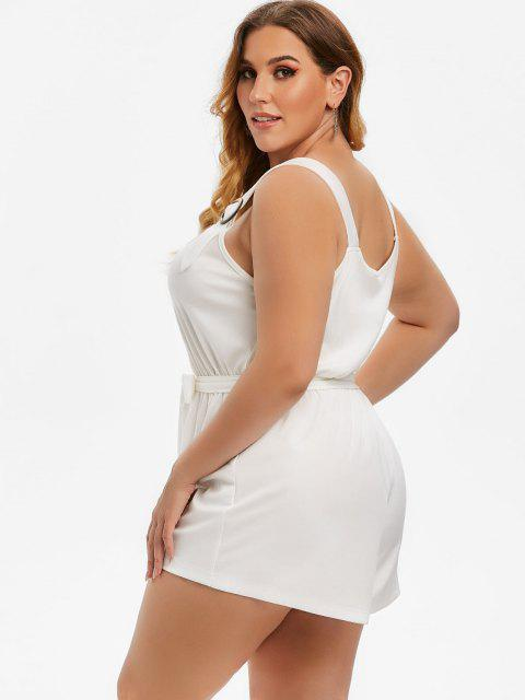 latest Plus Size Buttoned Sweetheart Neck Belted Romper - WHITE 4X Mobile