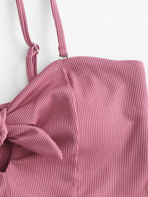 ZAFUL Haut de Bikini Côtelé Noué avec Trou de Serrure - Rose clair M Mobile