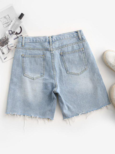 Shorts de Caída de Denim con Dobladillo Deshilachado - Azul de Koi S Mobile