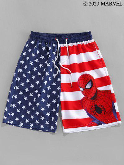 MarvelSpider-ManPantaloncini Con Motivo A Bandiera Americana - Blu S