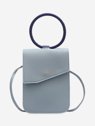 Circle Handle Mini Mobile Phone Crossbody Bag - Blue