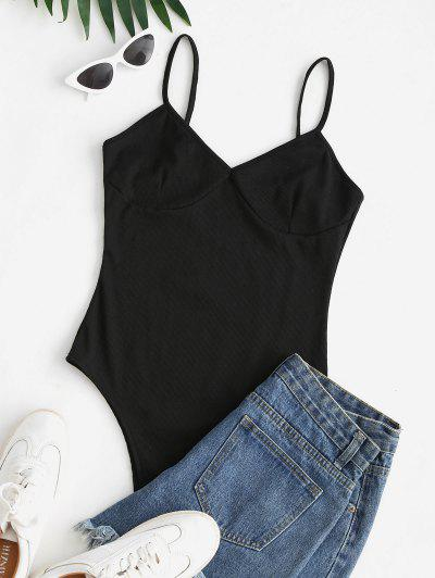 Ribbed High Cut Cami Bodysuit - Black M