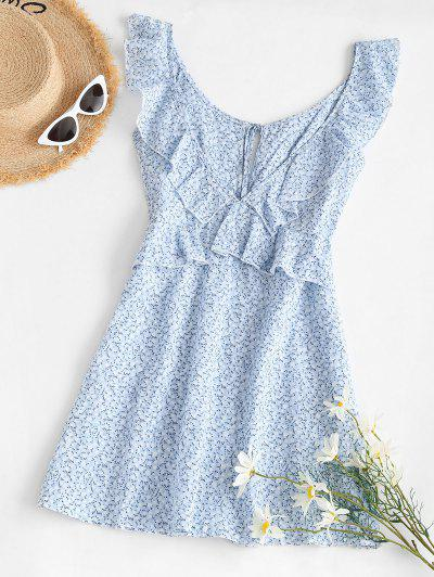 Ditsy Print Tie Ruffle Backless Peplum Dress - Light Blue Xl