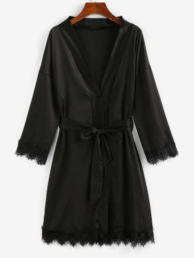 ZAFUL Belted Lace Trim Kimono Wrap Robe - Black M