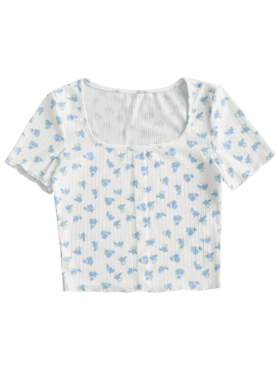 Mock Buttons Ditsy Floral Ribbed Tee
