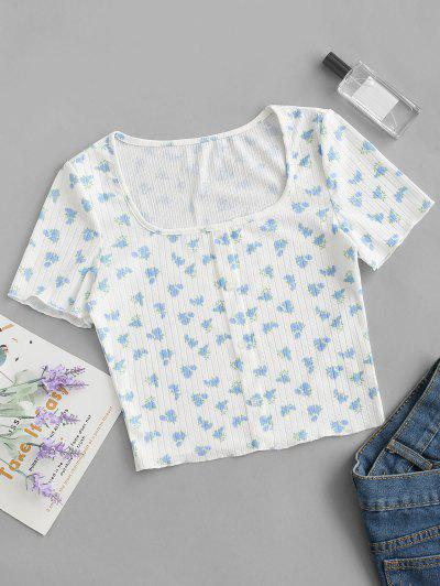 Mock Buttons Ditsy Floral Ribbed Tee - White M