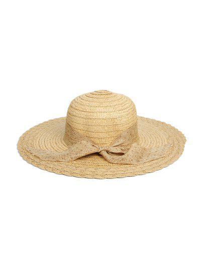 Dots Ribbon Bowknot Straw Hat - Light Khaki