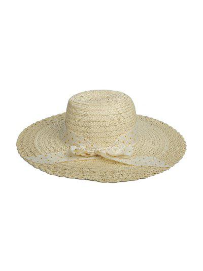 Dots Ribbon Bowknot Straw Hat - Beige