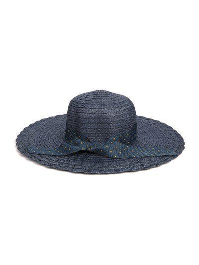 Dots Ribbon Bowknot Straw Hat - Cadetblue