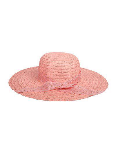 Dots Ribbon Bowknot Straw Hat - Sakura Pink