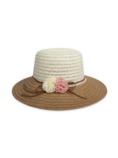 Flowers Colorblock Straw Hat - Dark Khaki