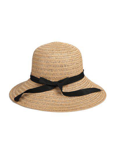 Bowknot Ribbon Straw Hat - Dark Khaki
