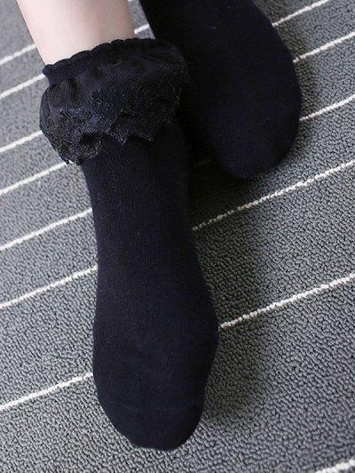 Layers Mesh Lace Anklet Cotton Socks - Black