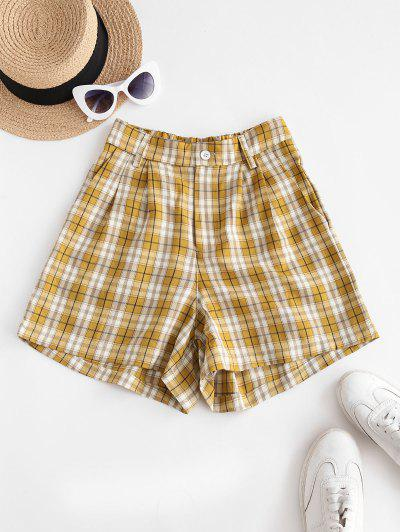 Plaid High Waisted Loose Shorts - Yellow L