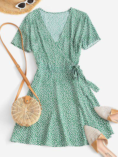Ditsy Floral A Line Wrap Dress - Light Green M