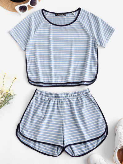 Lounge Striped High Waisted Ringer Shorts Set - Light Blue M
