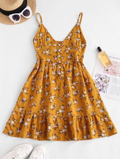 Flower Print Half Button Flounce Hem Dress - Yellow M