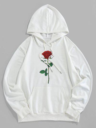 ZAFUL Rose Grafik Beutel Taschen Kapuze Hoodie - Weiß 2xl