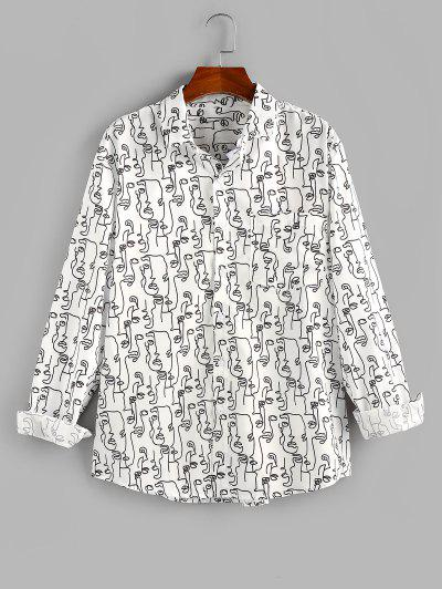 ZAFUL Abstract Face Print Pocket Button Up Shirt - White M