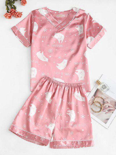 Satin Bear Snowflake Print V Neck Pajama Shorts Set - Light Pink 2xl