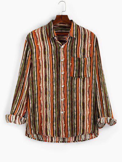 ZAFUL Vertical Striped Pocket Button Up High Low Shirt - Multi Xl