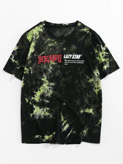 ZAFUL Tie Dye Print Short Sleeve Graphic T-shirt - Green 2xl